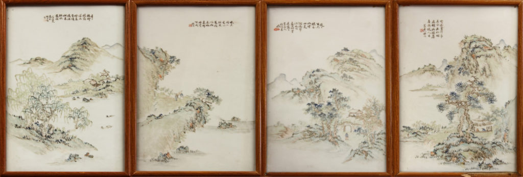 polychrome enameled porcelain plaques, late Qing dynasty